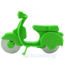 Green pizza cutter scooter