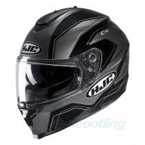 black and grey gloss full face hjc c70 helmet